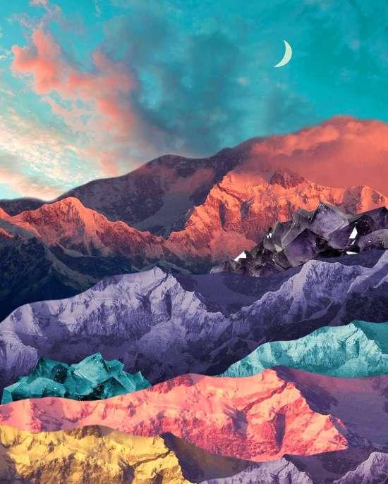 Картина по номерам 40x50 Красочные цветные горы