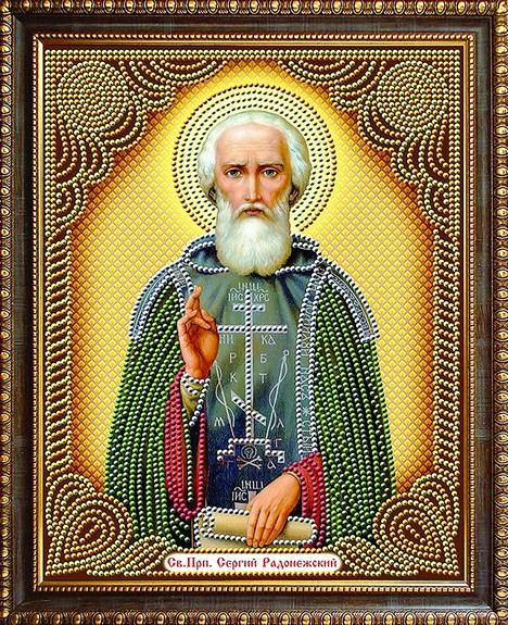 Алмазная мозаика частичная 27x33 Святой преподобный Сергий Радонежский