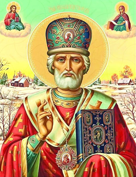 Алмазная мозаика 30x40 Икона Николая Чудотворца